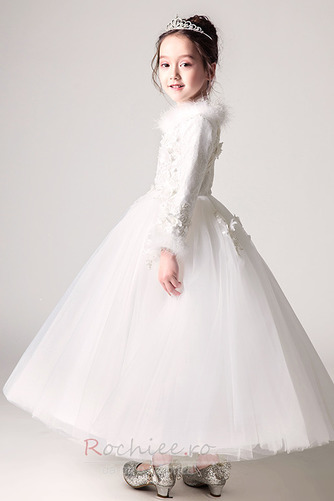 Rochie florăreasă A-linie Iarnă V gâtului Fermoar Tricou Satin - Pagină 4