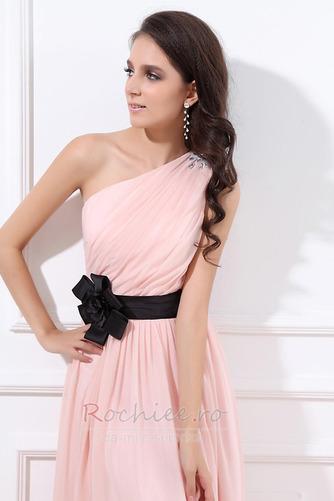 Rochie de domnişoară de onoare Lung Pompos Perla roz Drapat Un umăr - Pagină 6
