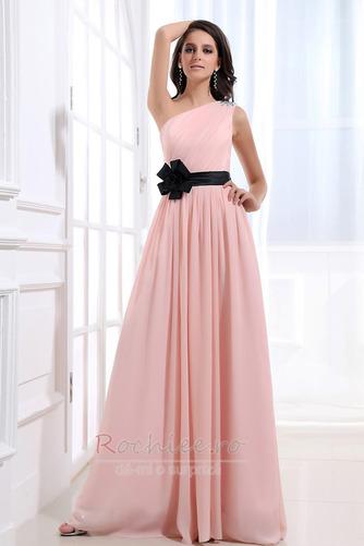 Rochie de domnişoară de onoare Lung Pompos Perla roz Drapat Un umăr - Pagină 1