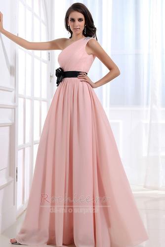 Rochie de domnişoară de onoare Lung Pompos Perla roz Drapat Un umăr - Pagină 2