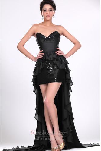 Rochie de cocktail Asimetric Şic Esarfe înaltă joasă Negru Fără mâneci - Pagină 3