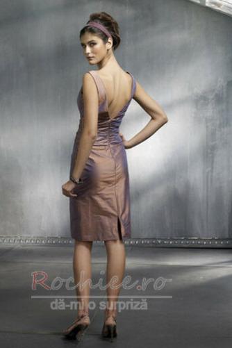 Rochie de cocktail Fermoar Danila Teacă V gâtului Taftă Simplu - Pagină 2