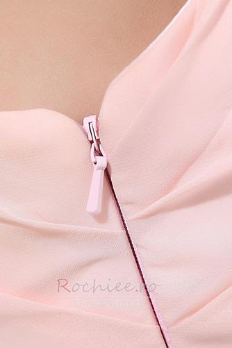 Rochie de domnişoară de onoare Lung Pompos Perla roz Drapat Un umăr - Pagină 9